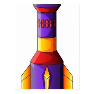 Un cohete colorido tarjetas postales