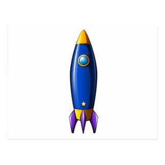 Un cohete con una estrella postal