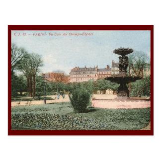 Un Coin des Champs Élysées, Paris, France Vintage Postcard