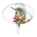Un colibrí, dibujo de lápiz de la acuarela decoración para tarta
