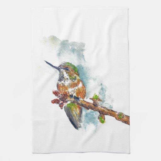 Un colibrí, dibujo de lápiz de la acuarela toallas de cocina