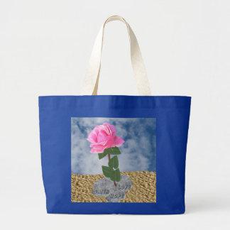 Un color de rosa en el desierto bolsa tela grande
