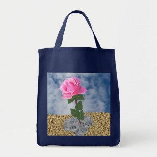 Un color de rosa en el desierto bolsa tela para la compra