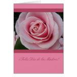 Un color de rosa para el español mothersday felicitación