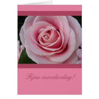 Un color de rosa para el holandés mothersday tarjeta de felicitación