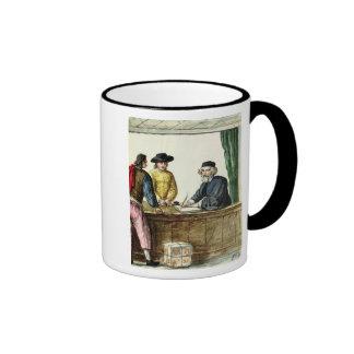 Un comerciante judío con dos clientes taza de café