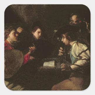 Un concierto, c.1610-20 (aceite en lona) pegatina cuadrada