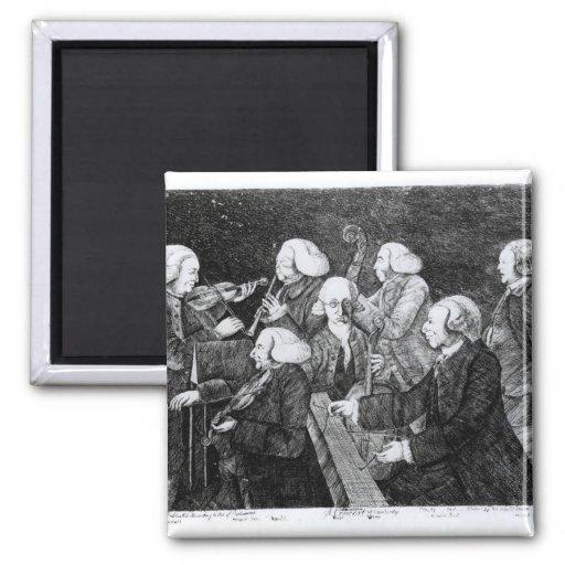 Un concierto en Cambridge, 1770 Imán Cuadrado