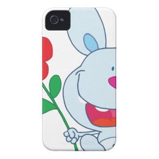Un conejito feliz sostiene la flor iPhone 4 Case-Mate coberturas