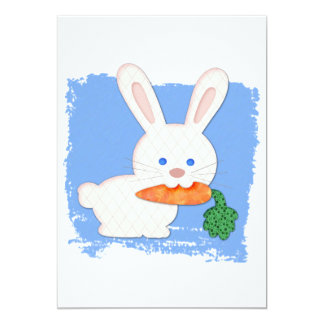 """Un conejo blanco acolchado zanahoria invitación 5"""" x 7"""""""