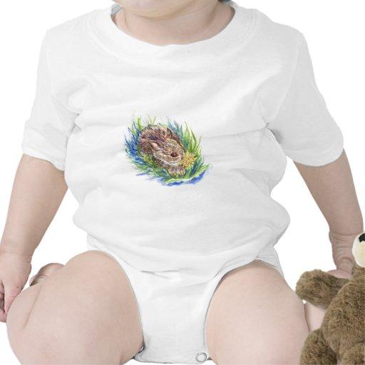 Un conejo de conejo de rabo blanco del bebé - lápi camisetas