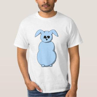 Un conejo de la nieve, dibujo animado en azul playeras