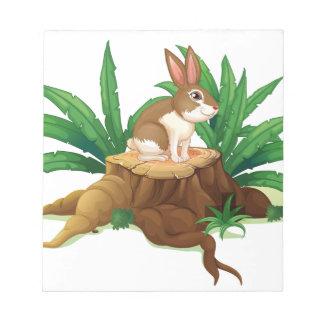 Un conejo que se sienta sobre un tronco blocs