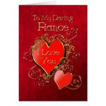Un corazón a dar para mostrar su amor para su tarjeta de felicitación