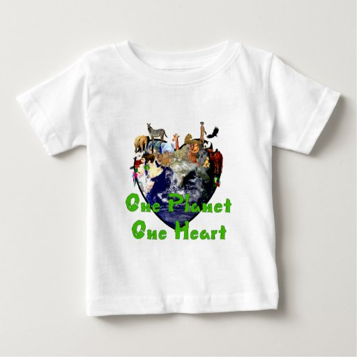 Un corazón del planeta uno playera de bebé