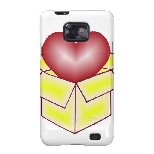 Un corazón en una caja de regalo - amarillo galaxy s2 carcasa
