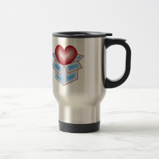 Un corazón en una caja de regalo - azul taza de viaje de acero inoxidable