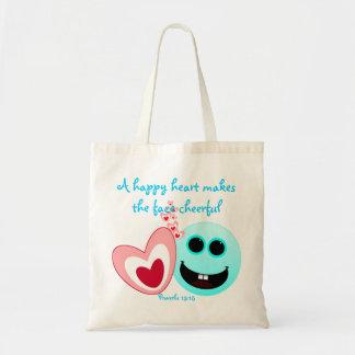 Un corazón feliz - 15:13 de los proverbios bolsa tela barata