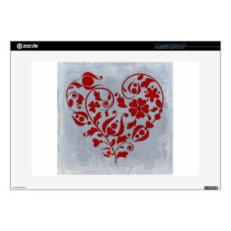 Un corazón floral calcomanías para 38,1cm portátiles