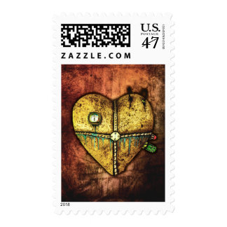 Un corazón menos franqueo gótico quebrado del timbre postal