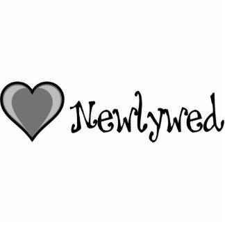 Un corazón - recién casado - negro y blanco fotoescultura vertical