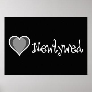 Un corazón - recién casado - negro y blanco poster