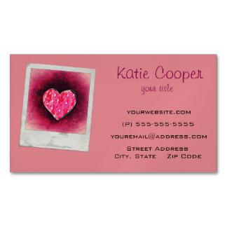 Un corazón rosado dibujado mano linda en una tarjetas de visita magnéticas (paquete de 25)