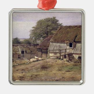 Un cortijo en Suecia, 1834 Adorno Navideño Cuadrado De Metal