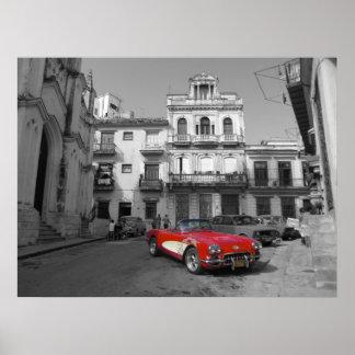 Un Corvette viejo en La Habana vieja Póster