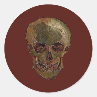 Un cráneo de Vincent van Gogh Pegatina Redonda