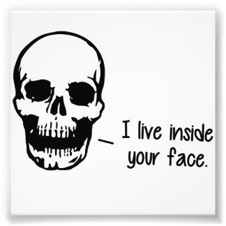 Un cráneo vive dentro de su cara cojinete