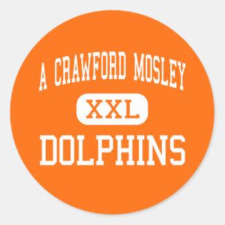 Un Crawford Mosley - delfínes - alto - ciudad de Pegatina Redonda