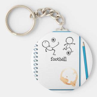 Un cuaderno con un diseño del fútbol llavero redondo tipo pin
