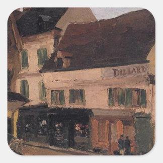 Un cuadrado en La Roche Guyon de Camille Pissarro Pegatina Cuadrada