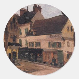 Un cuadrado en La Roche Guyon de Camille Pissarro Pegatina Redonda