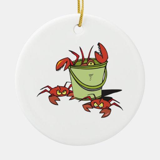 un cubo de cangrejos enojados ornato