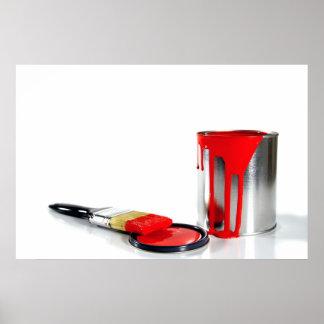 un cubo y un cepillo rojos de la pintura impresiones