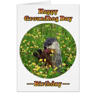 ¡Un cumpleaños el día de la marmota! Tarjeta Pequeña