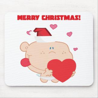 Un Cupid romántico de las Felices Navidad con el c Tapete De Raton