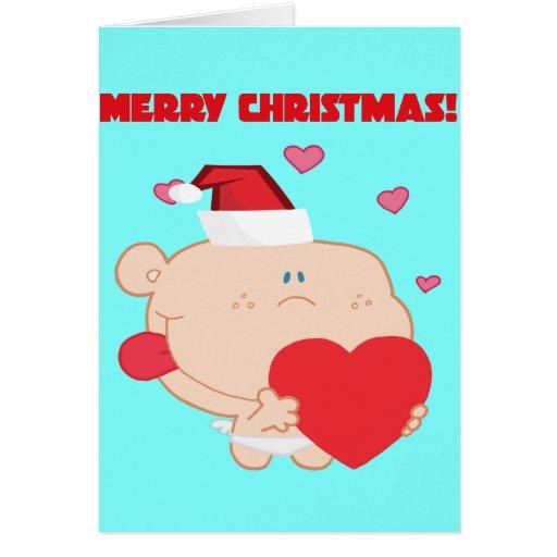 Un Cupid romántico de las Felices Navidad con el c Tarjetas