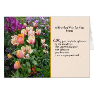 Un deseo del cumpleaños para usted, amigo tarjeta de felicitación