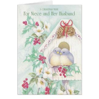 Un deseo del navidad para la sobrina y su marido tarjeta de felicitación