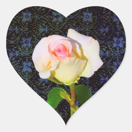 Un despliegue color de rosa - damasco negro calcomanías corazones