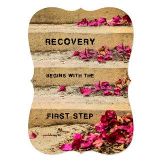"""Un día a la vez (flores en los pasos/recuperación) invitación 5"""" x 7"""""""