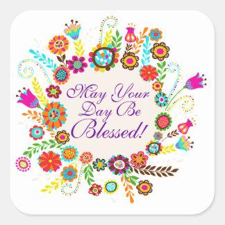 Un día bendecido - SRF Pegatina Cuadrada