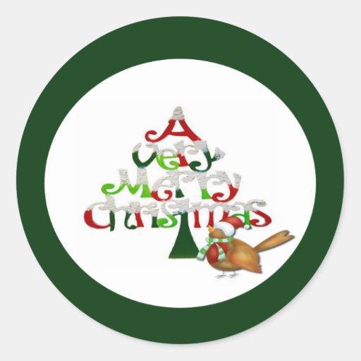 Un día de fiesta de las Felices Navidad muy Pegatina Redonda