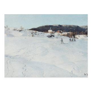 Un día de invierno en Noruega, 1886 Tarjeta Postal