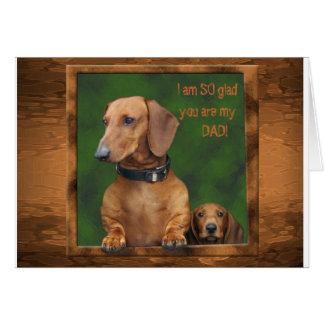 Un día de padre del dachshund tarjeta de felicitación