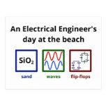 Un día del ingeniero eléctrico en la playa tarjeta postal