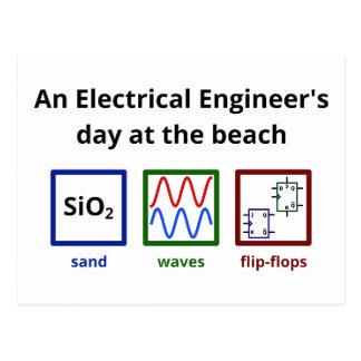 Un día del ingeniero eléctrico en la playa postal
